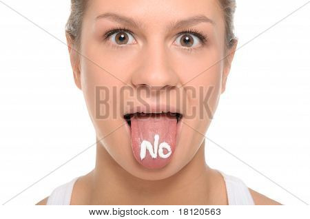 Woman puts out the tongue with an inscription no