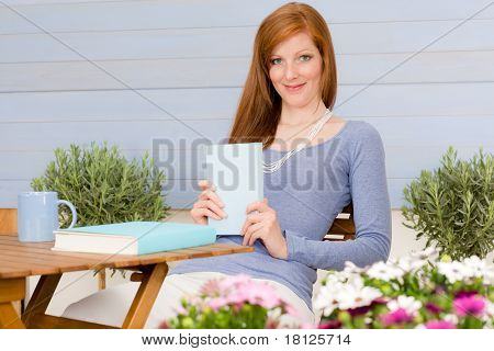 Summer Terrace Redhead Woman Relax In Garden