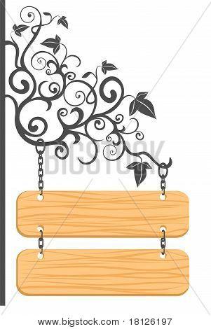 Sinal de madeira com vinheta.