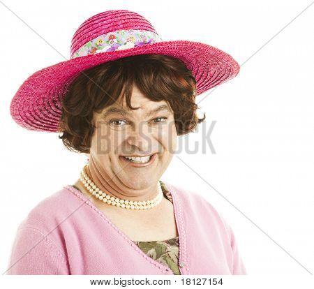 Humorous portrait of a transvestite celebrity impersonator.  Isolated on white.