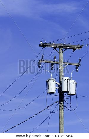 Telephone Pole With Cables
