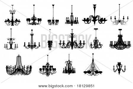 An image of 17 different shapes of chandelier