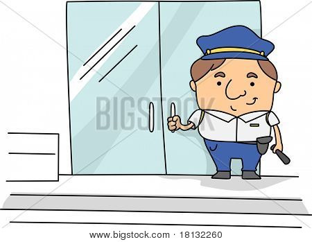 Illustration of a Security Guard at Work