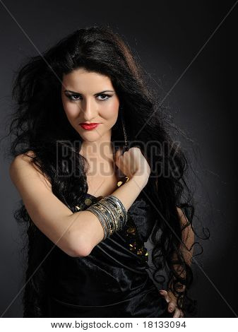 Beautiful Woman With Long Black Healthy Hair In Arabic Traditional Clothes