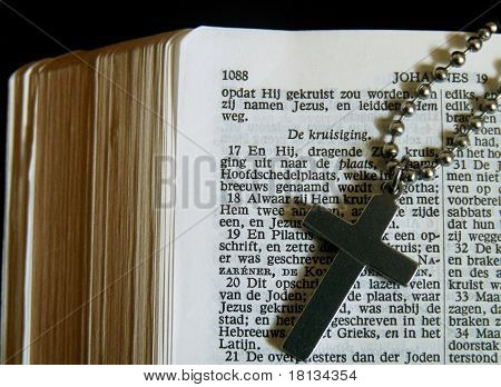 Dutch Bible with a cross