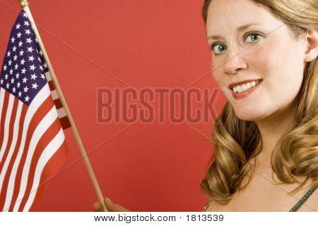 Woman And Flag