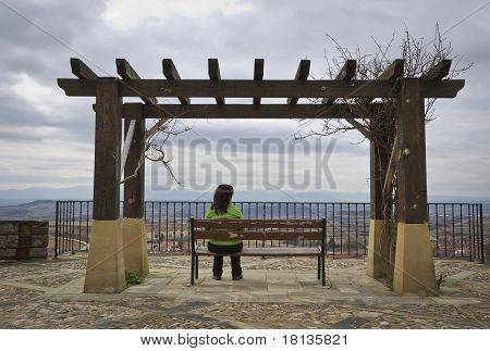 Lonely Woman Looking At The Landscape