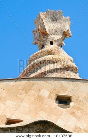 BARCELONA, Espanha - 23 de maio: Detalhe da Casa Mila, ou La Pedrera, em 23 de maio de 2010 em Barcelona, Espanha.