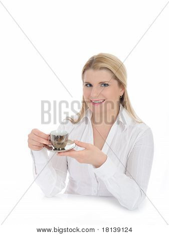 Pretty Woman Drinking Cup Of Espresso Coffee. Isolated On White
