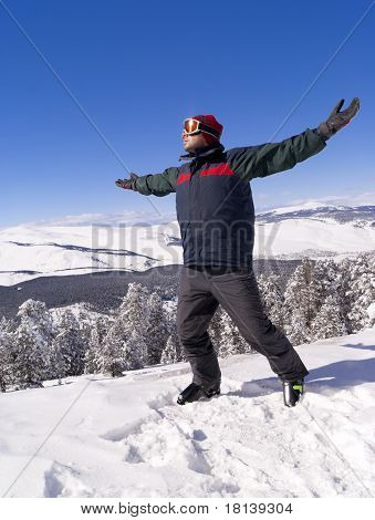 Happy Skier On The Top Of Mountain