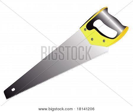 Säge auf Holz mit einem gelb-schwarz-Griff