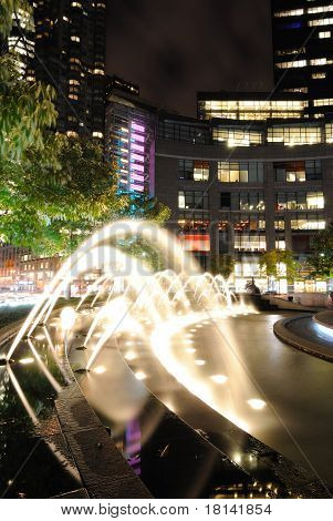Fountains At Columbus Cirlce At Night