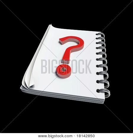 3D - Questionmark Written On Note