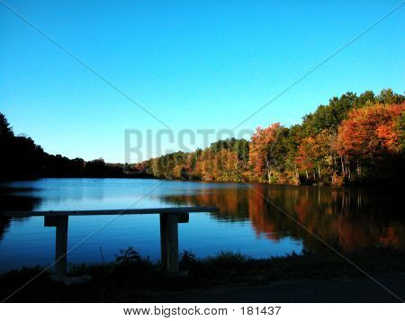 Lake At Fall In New England