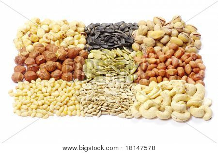 seeds and nuts with collection