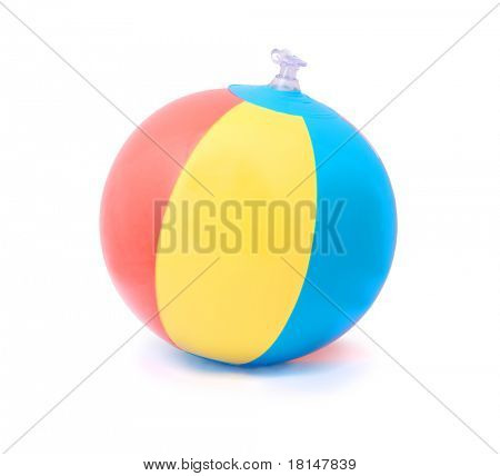 Three-color beach ball isolated on pure white background