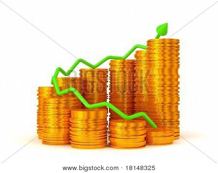 Profit: Green Graph Over Golden Coins Stacks