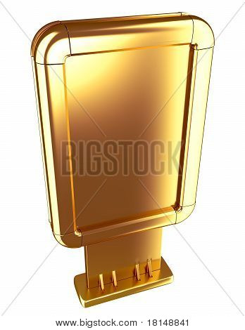 Golden Billboard Isolated On White