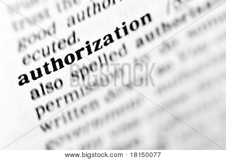 Authorization  (the Dictionary Project)