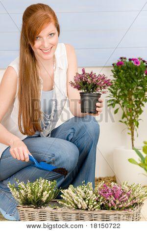 Summer Garden Terrace Redhead Woman Hold Flower