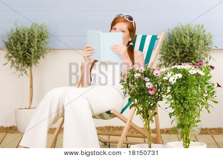 Summer Terrace Red Hair Woman Read In Deckchair