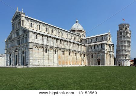 Church And Leaning Tower Of Pisa