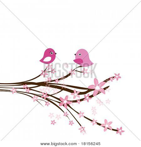 Cute easter card with two birds on the cherry tree. Jpeg version