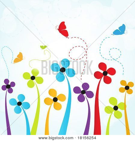 Colorful summer flowers and butterflies. Jpeg version