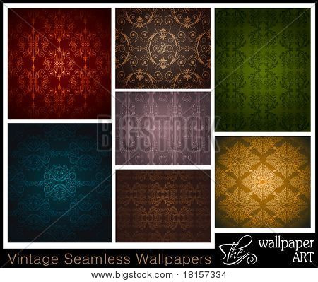 Stylish Set of 7 seamless vintage wallpapers