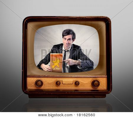 Man advertising a product on the television