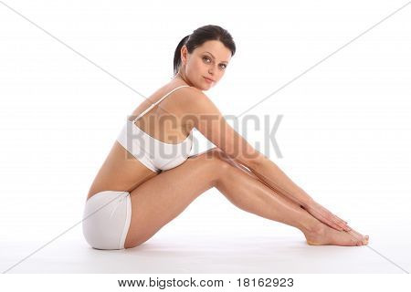 Beautiful Young Fit Body Of Sports Woman Sitting