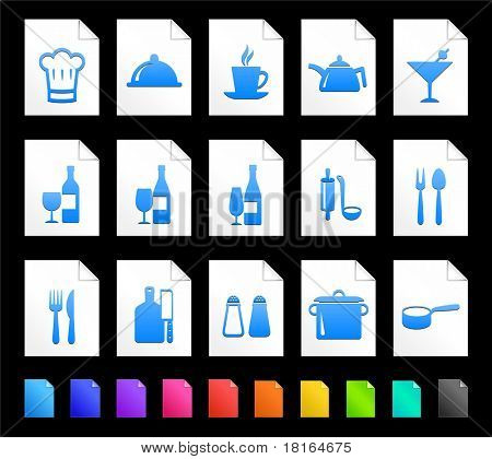 Restaurant Icon on Document Icon Collection Original Illustration