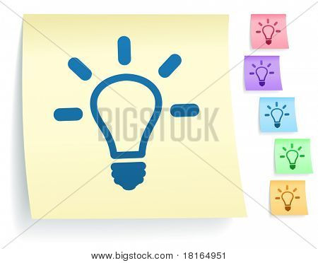 Light Bulb Icon on Post It Note Paper Collection Original Illustration
