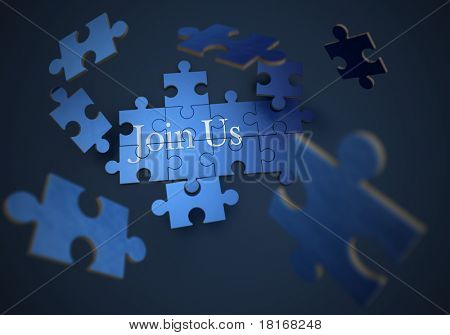 3D rendering of a forming puzzle with the words join us