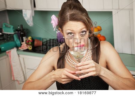 Weeping Woman Has A Drink
