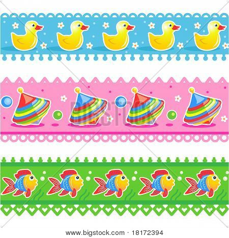 Kids toys borders seamless patterns