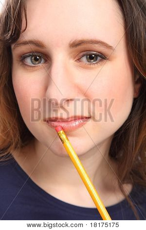 Young Woman With Beautiful Eyes Deep In Thought