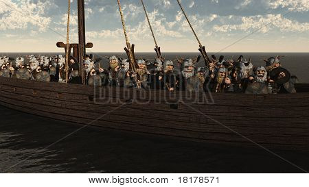Toon Viking Longship and Crew