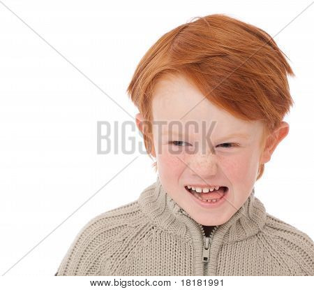 Boy Isolated  On White