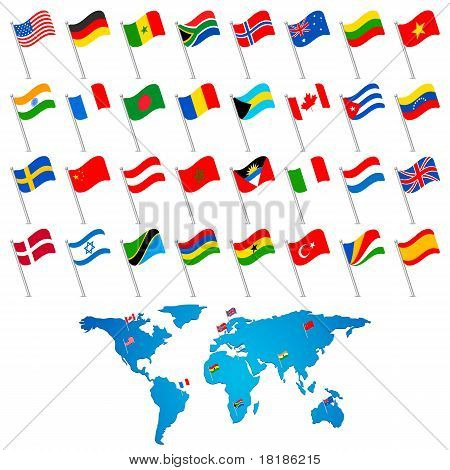 Flag with World Map