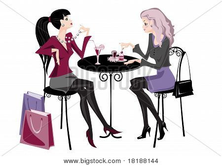 Two girls in cafe stylization