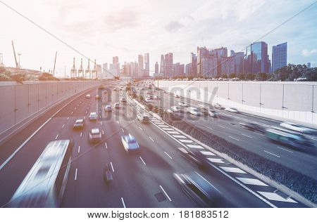 Busy Road And City Background