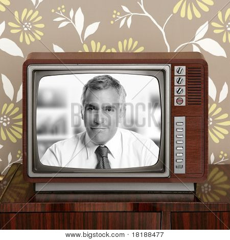 senior tv presenter in retro wood television vintage wallpaper