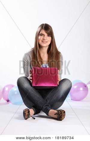 Beautiful Happy Student Girl With Birthday Present