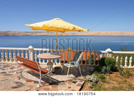 Scenic terrace view on adriatic sea