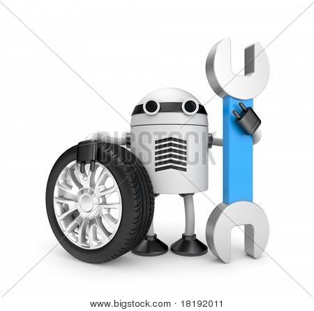 Robot worker with spanner