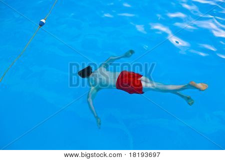 Boy  Diving In The Pool