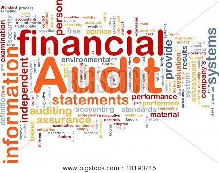 Background concept wordcloud illustration of financial audit