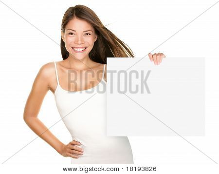 Paper Sign Woman Smiling
