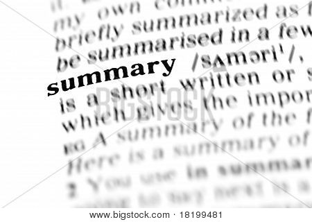Summary (the Dictionary Project)